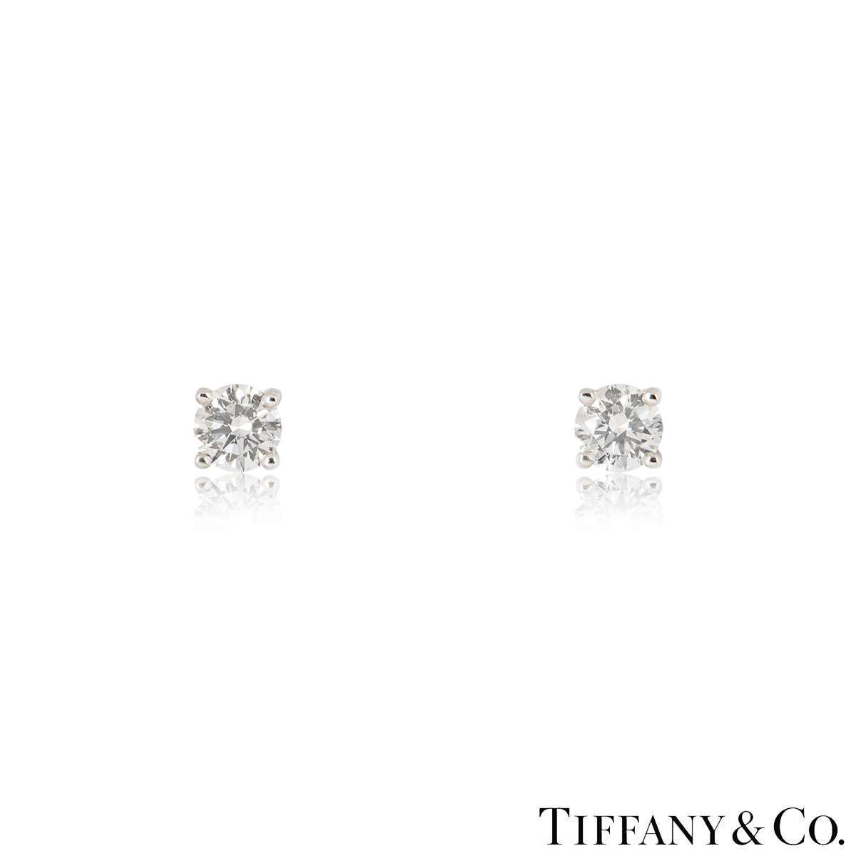 Tiffany & Co. Solitaire Diamond Platinum Stud Earrings 1.24ct TDW